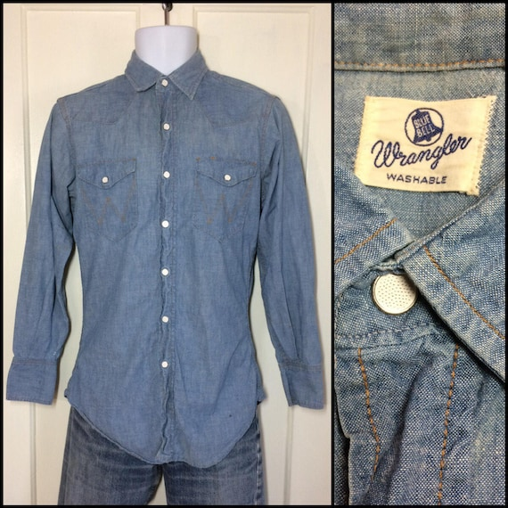 1950s Wrangler Blue Bell chambray snap western wor