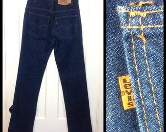 Vintage Denim 509 Levi's straight leg blue Jeans 31x36, measured 30x36.5 Tall dark wash Orange Tab made in USA Boyfriend Grunge #270
