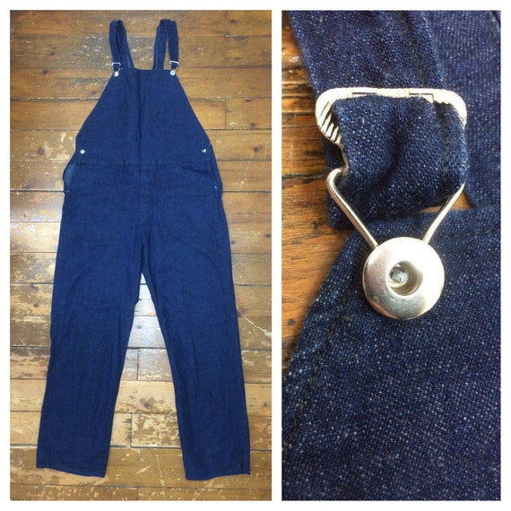 1930s 1940s indigo blue denim no pocket bib overal
