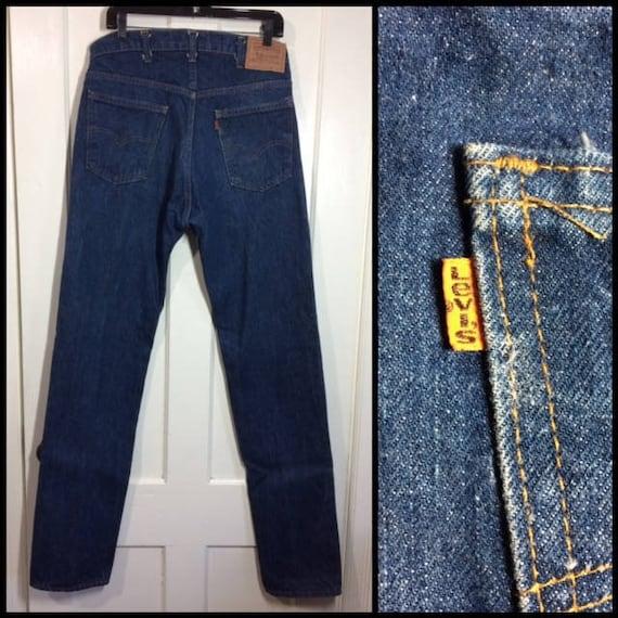 Levis 505 straight leg dark wash denim blue jeans 36x36, measures 34x36 tall orange tab made in USA boyfriend barely used condition #346