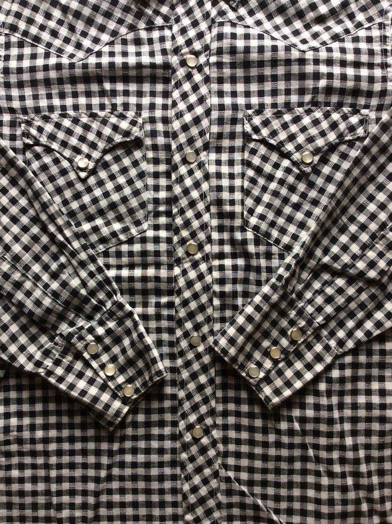 1950/'s Vintage Black and White Gingham Check Cowboy Western Shirt with silver thread looks size Small HBarC California Rancher Textured