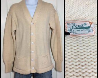 1950s cream color wool letter varsity stadium cardigan sweater looks size medium by Lanza Knitting Mills Boston Ma college school sportswear