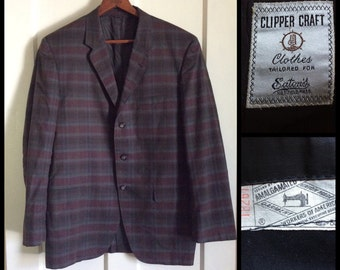 Men's Vintage 1960's Sport Jacket Blazer looks size Medium to Large Dark Burgundy Gray Plaid