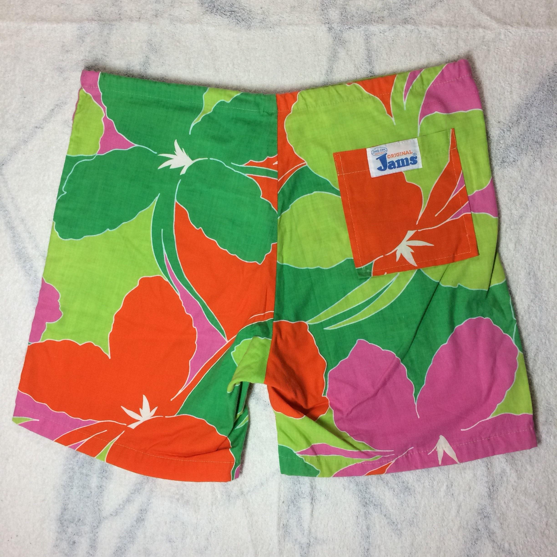 1fa5fefb8c 1980's Board Shorts Original Jams Surf Line Hawaii size medium made in USA  bold abstract tropical flower print green all cotton surfer beach