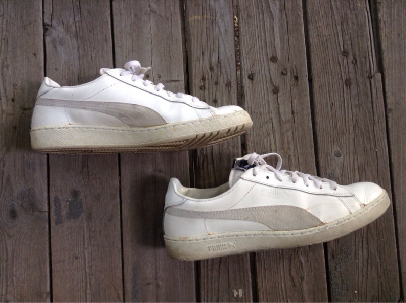Vintage 1980 s White Leather Puma Defeater Sneakers Shoes  2f1c1af58