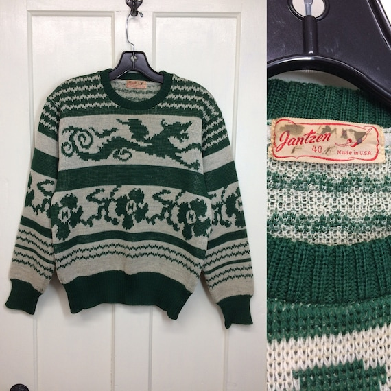 1940s 1950s Jantzen wool novelty sweater dragon fl