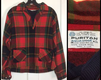 1960s plaid half zip pullover shirt with black ribbed cotton dickie by Puritan Aqua Wool size medium red black green olive mod beatnik