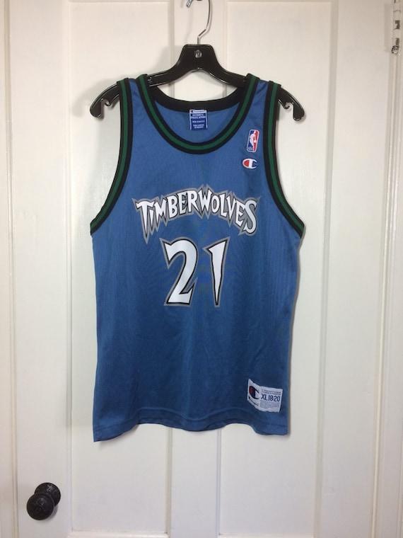 quality design 147fb 28378 1990s Kevin Garnett number 21 Wolves Minnesota Timberwolves NBA Basketball  team blue Champion Jersey Tank youth size XL 18-20 #21