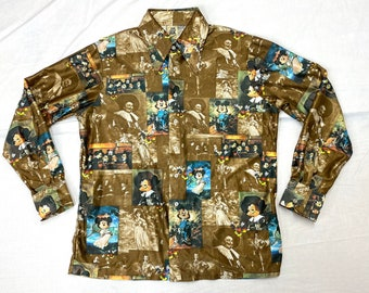 1970s Mickey Mouse art paintings novelty print shirt tag size XL, looks L by Kennington California disco party