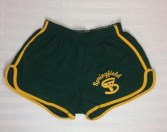 1970s Champion Blue Bar gym shorts size large 36-38 dark green yellow stripe Springfield YMCA made in USA