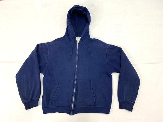 1960s 1970s thermal lined dark blue full zipper ho