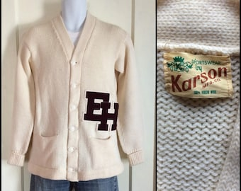 deadstock 1950's Letter E H Varsity Cardigan all Wool Sweater looks size M-L Patches Karson Excellent Condition
