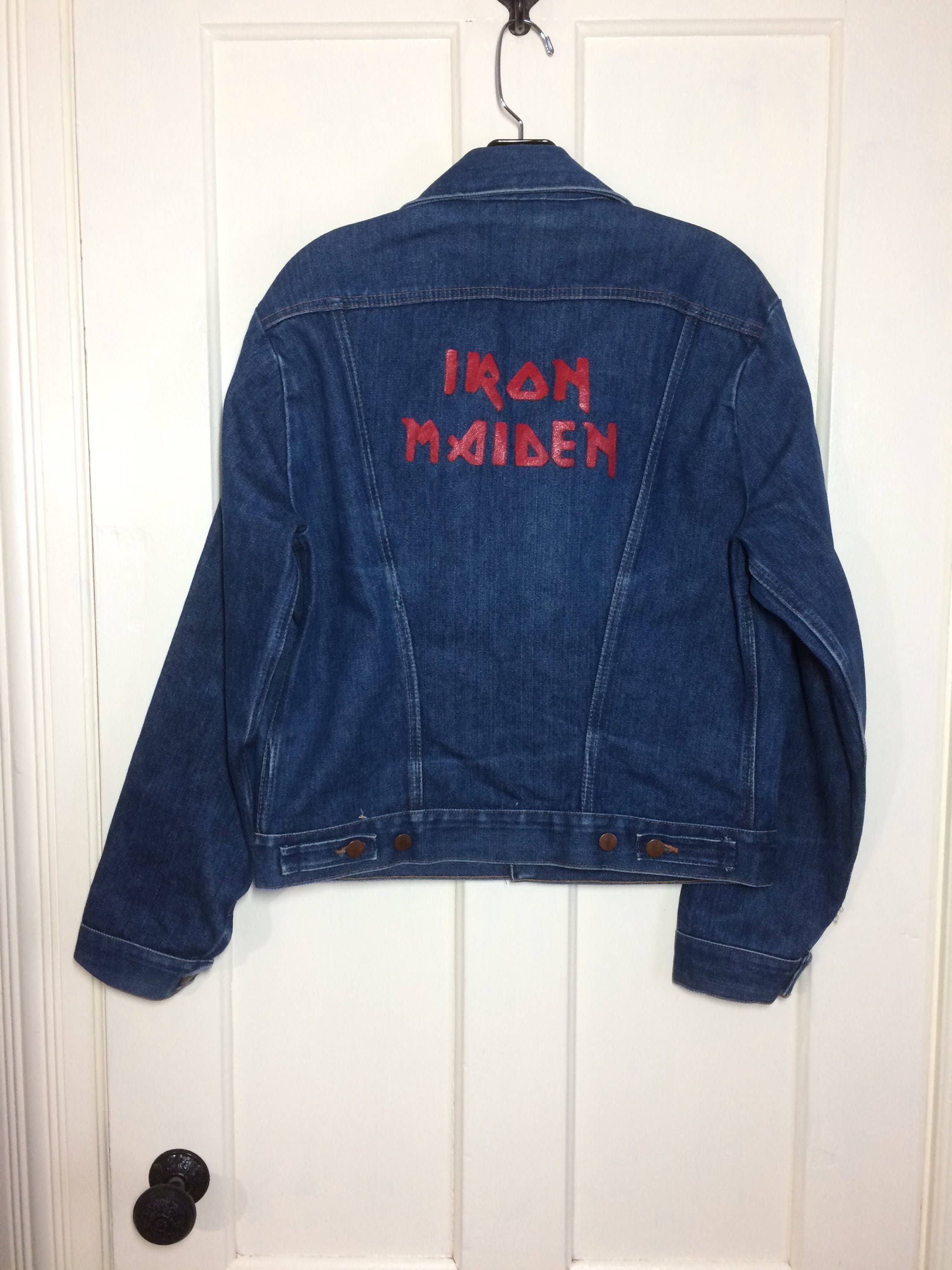 594f2f30a 1970s Wrangler Iron Maiden painted blue jean denim jacket 4 pocket ...