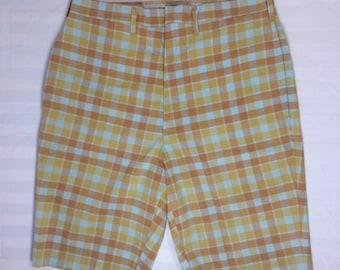 1960s Lee Leesures plaid burmuda shorts orange yellow light blue 29 inch waist flat front skate punk grunge