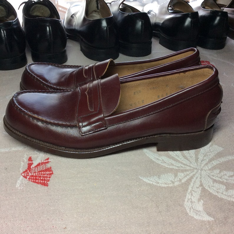 03a1988eab2 1950 s Deadstock Penny Loafers Burgundy Brown men s