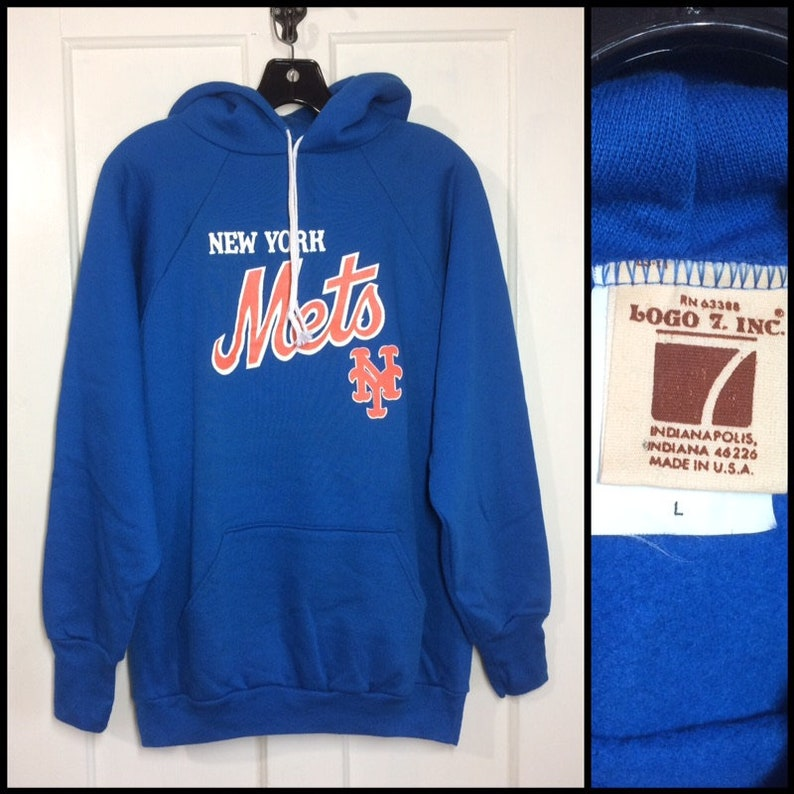 reputable site 20c6a 36ab4 deadstock 1970s New York Mets hoodie sweatshirt size large baseball NYC  blue Logo 7 made in USA NOS