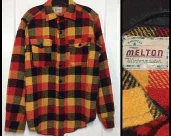 1950s Melton Wintermaster wool shirt buffalo plaid yellow red black looks size medium