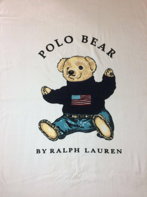 87e9c3315e 1990s Polo Bear by Ralph Lauren large cotton towel 62x34 intarsia ...