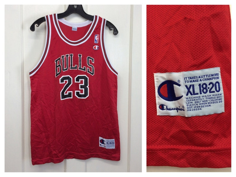 the best attitude 75f4f 9a258 1990s Michael Jordan Chicago Bulls number 23 red black NBA basketball team  Champion brand jersey tank top size Youth XL 18-20