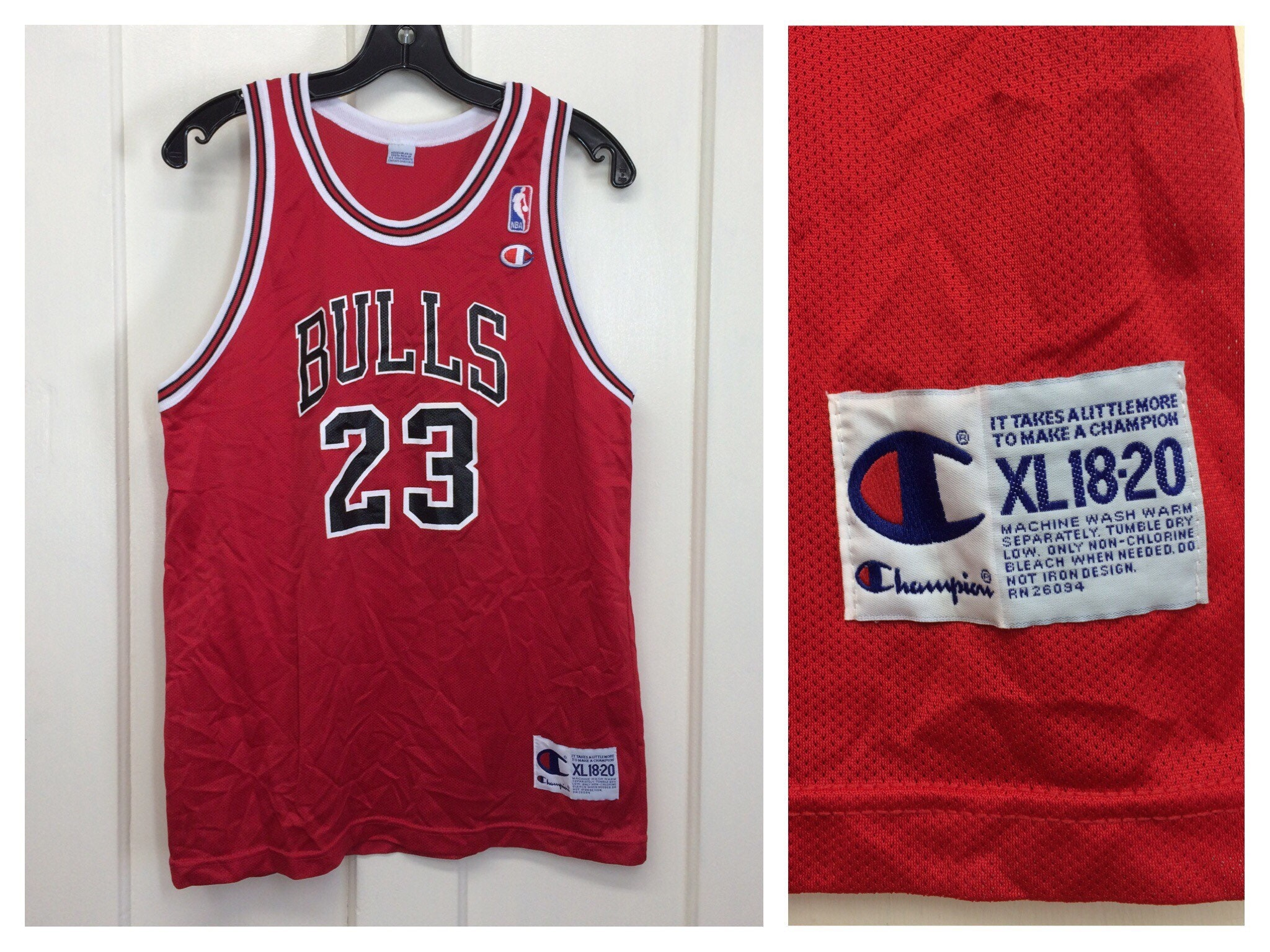 the best attitude 78337 1995a 1990s Michael Jordan Chicago Bulls number 23 red black ...