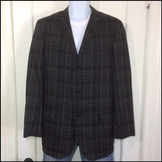 poids léger à carreaux des années 1960 d'été 3 bouton mod sport veste blazer semble taille grande sourdine vert olive Bordeaux foncé noir