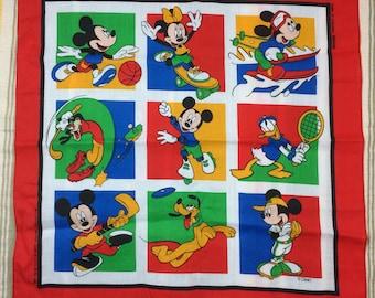 deadstock 1980's Walt Disney Mickey Minie Mouse Donald Duck novelty bandana 21x21.5 skateboard hockey frisbee baseball basketball nos #77