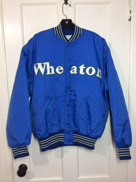 1980s Wheaton College nylon quilted bomber jacket