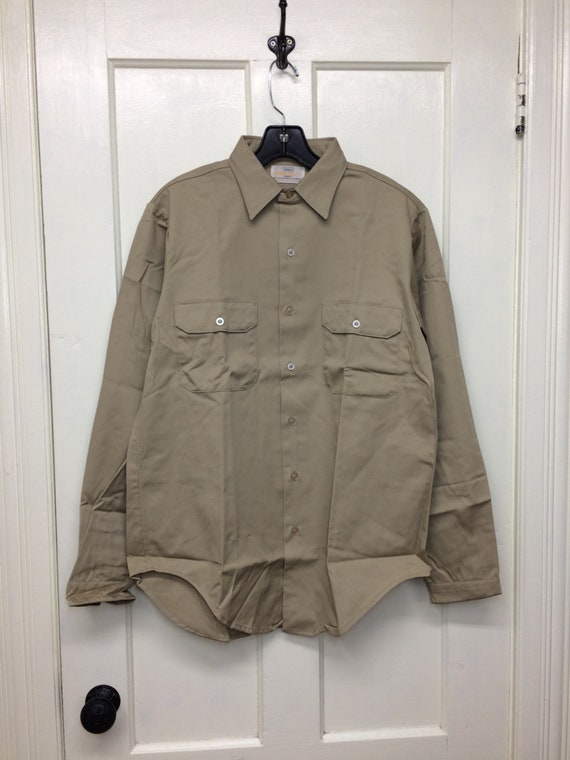 deadstock 1960s Montgomery Ward permanent press twill work shirt size small 14-14.5 NOS brown #5