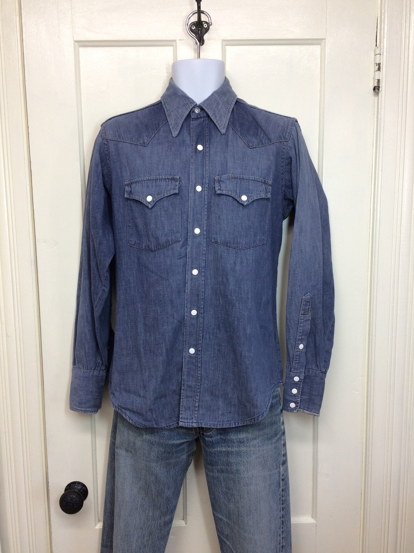 fb999ea6b8 1960s Sears Roebucks faded blue denim jean western work shirt size ...