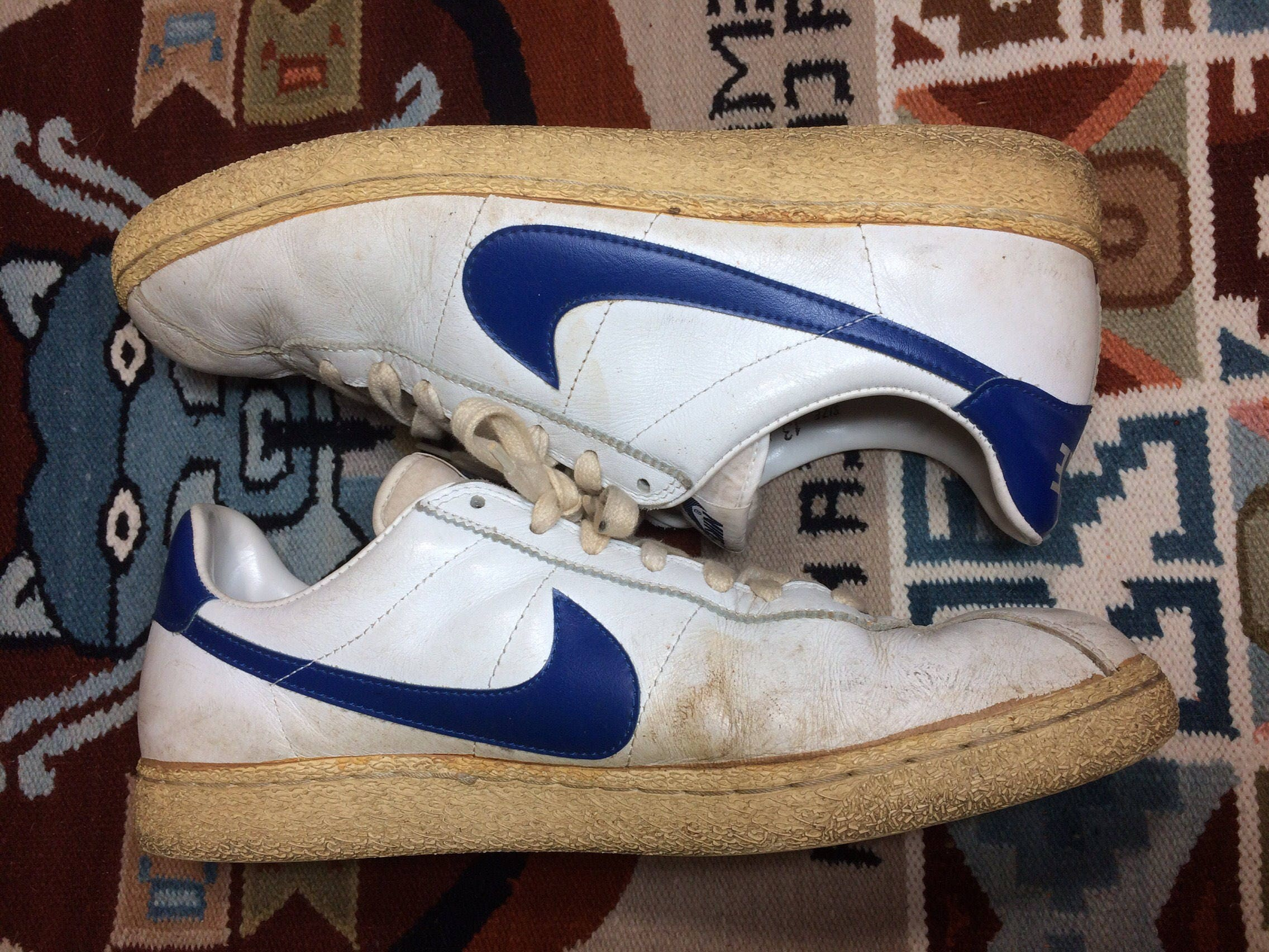 b10e1ec1080a4a 1982 Nike Bruin leather Sneakers size 13 White blue swoosh made in Thailand Marty  McFly back to the future