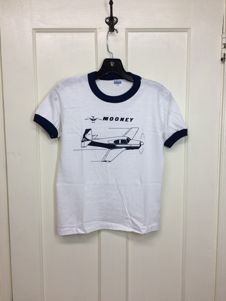 b94b6470 Deadstock 1980s Mooney small vintage airplane t-shirt size   Etsy