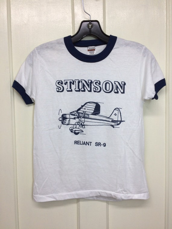 deadstock 1980s Stinson Station Wagon vintage airplane t-shirt size M or L pilot aircraft thin white ringer tee Hanes made USA NOS Pick one