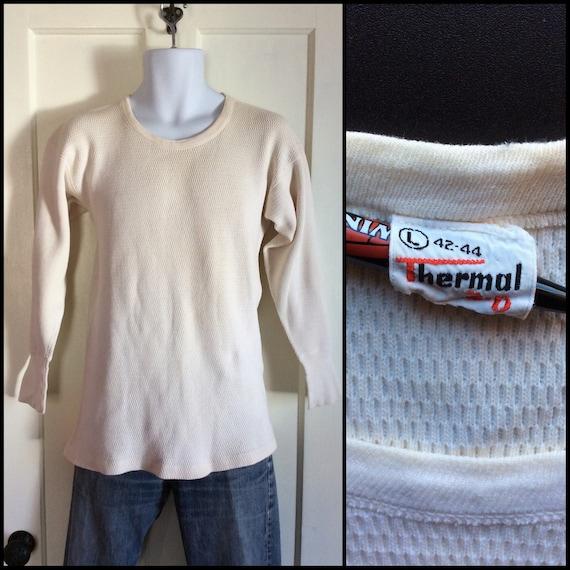 Vintage des années 1950 marque coton doux thermique 3D caleçon maillot tshirt taille L Long manches t-shirt gaufre texturé plat point #1