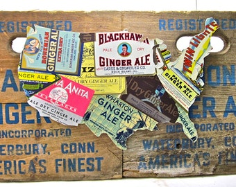 united states map upcycled vintage ginger ale label collage