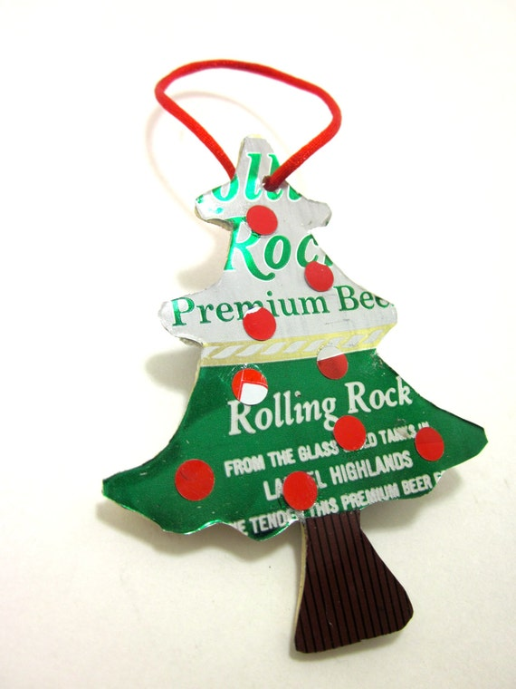 image 0 - Christmas Tree Ornament Made From Upcycled Vintage Beer Cans Etsy