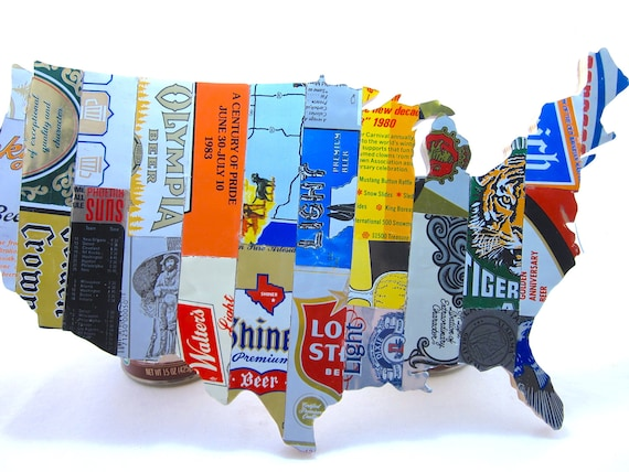 Us Map Photo Collage.United States Map Collage Made From Vintage Upcycled Us Beer Etsy