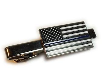 Thin Blue Line Flag Tie Clip Police Officer Tie Bar Handmade Decoupage Artwork Under Glass.