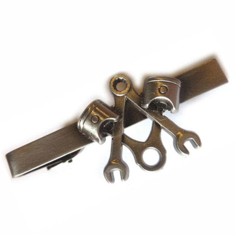 Piston Wrench Widows Son Biker Motorcycle Freemason Masonic Masonry Square /& Compass Antique Nickel Suit Tie Bar Clip