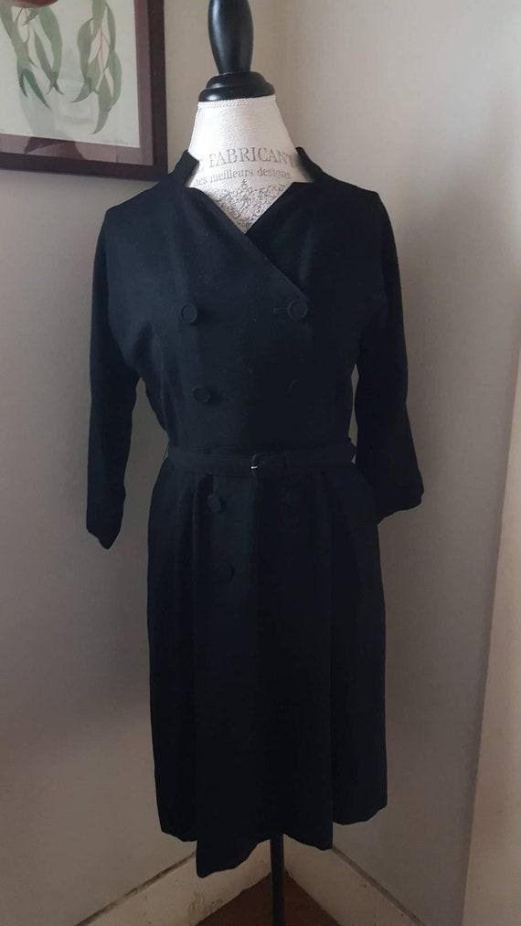 Vintage 1940s Black as Night Wool Dress, sz L/XL