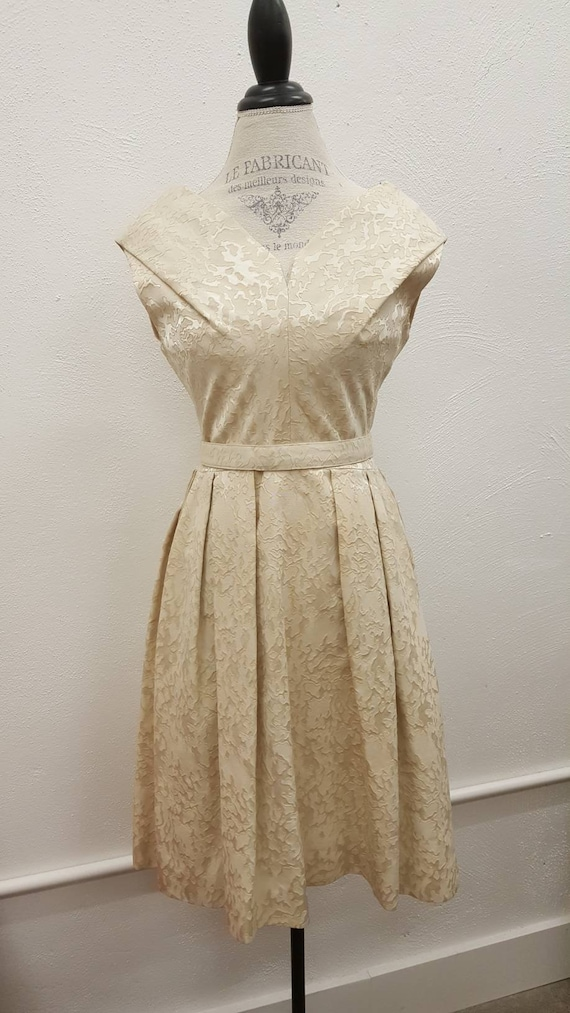 Vintage 1960s Marbled Cream Wiggle Dress, R&K Orig