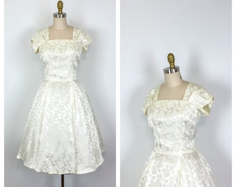 1950s Satin Brocade Fit and Flare Wedding Dress