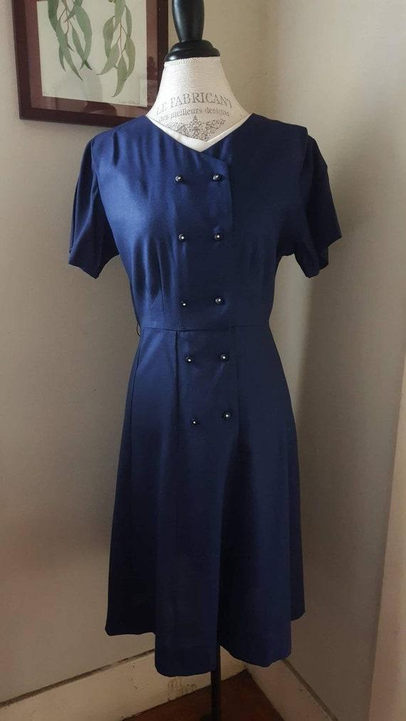 Vintage 1940s Smooth Sailing Blue Dress, sz L/XL