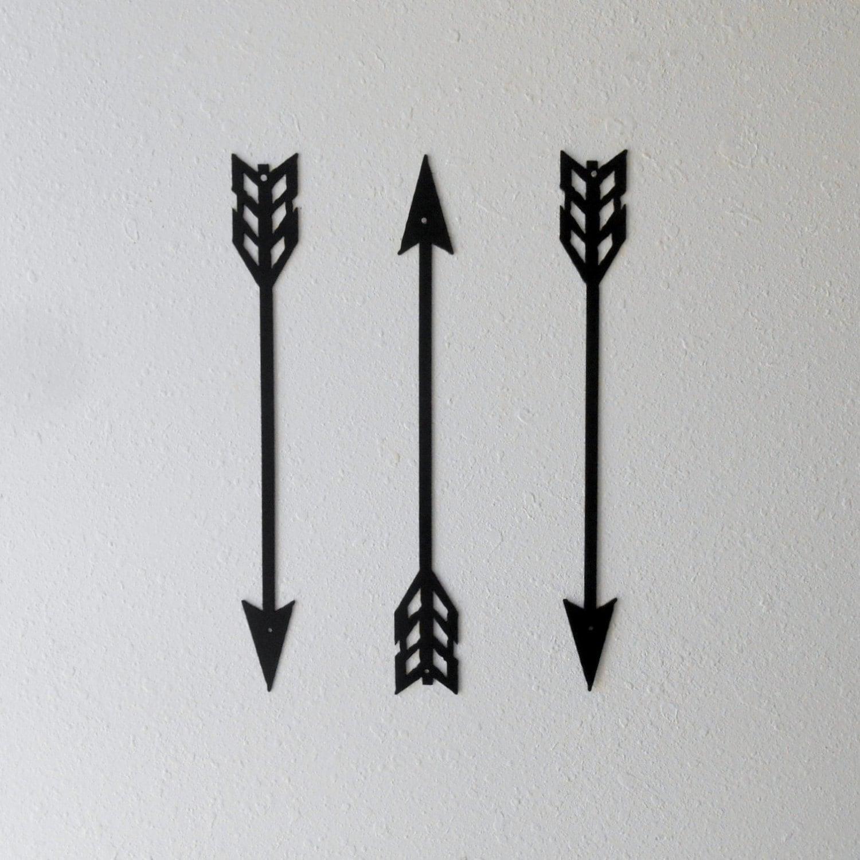 small arrow decor metal art wall decor set of three home etsy. Black Bedroom Furniture Sets. Home Design Ideas