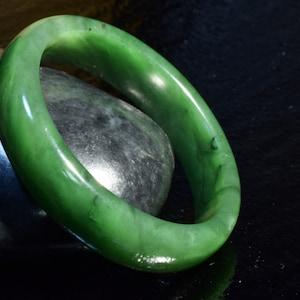 Sale 56.7 mm 100/% Natural dark green nephrite Hetian Jade bangle B4