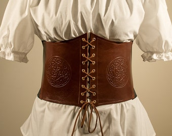 7a65211ee4c Borea Celtic Corset Belt in genuine leather and elastic band.