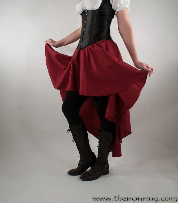 Steampunk Skirts | Bustle Skirts, Lace Skirts, Ruffle Skirts Beautiful cotton fantasy steampunk skirt larp victorian pirate renaissance made to order $45.59 AT vintagedancer.com
