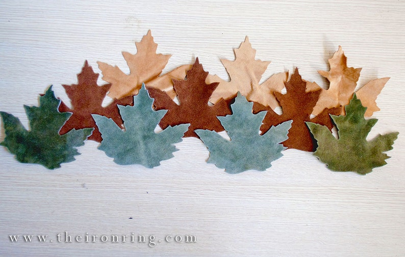 Suede Leather maple leaves Sand, brown and green set of 10 three different colors