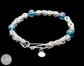 Byzantine Bracelet with Aqua Aura Beads and with Handmade S-Clasp