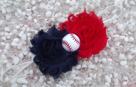 Atlanta Braves Shabby Chic Navy Blue & Red Double Flower