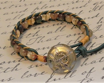 Leather and Bead Bracelet (504)  25% off